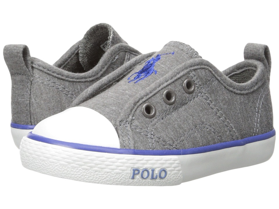 Polo Ralph Lauren Kids - Raymond Slip-On (Toddler) (Grey Winter Jersey/Navy Pony) Boy's Shoes