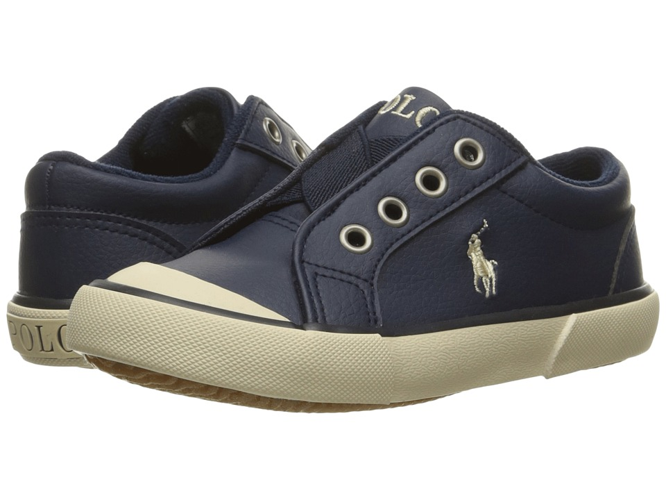 Polo Ralph Lauren Kids - Greggner (Little Kid) (Navy Tumbled/Cream Pony) Boy's Shoes
