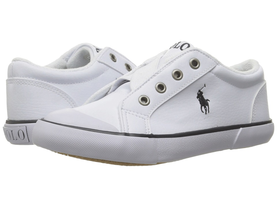 Polo Ralph Lauren Kids - Greggner (Little Kid) (White Tumbled/Navy Pony) Boy's Shoes