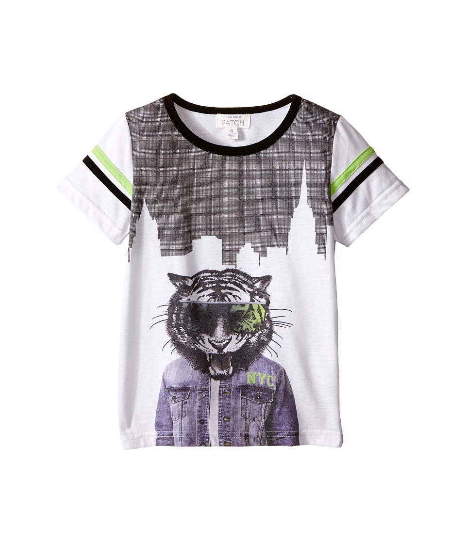 Pumpkin Patch Kids - Tiger Hem Print Tee (Infant/Toddler/Little Kids) (Clean White) Boy's T Shirt