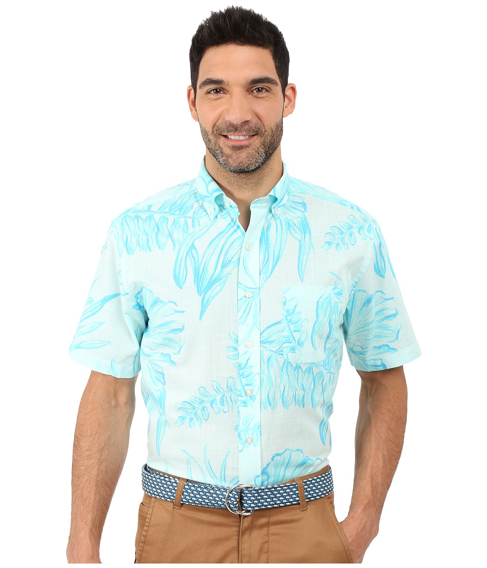 Vineyard Vines - Seaweed Print Short Sleeve Classic Murray Shirt (Crystal Blue) Men's Short Sleeve Button Up