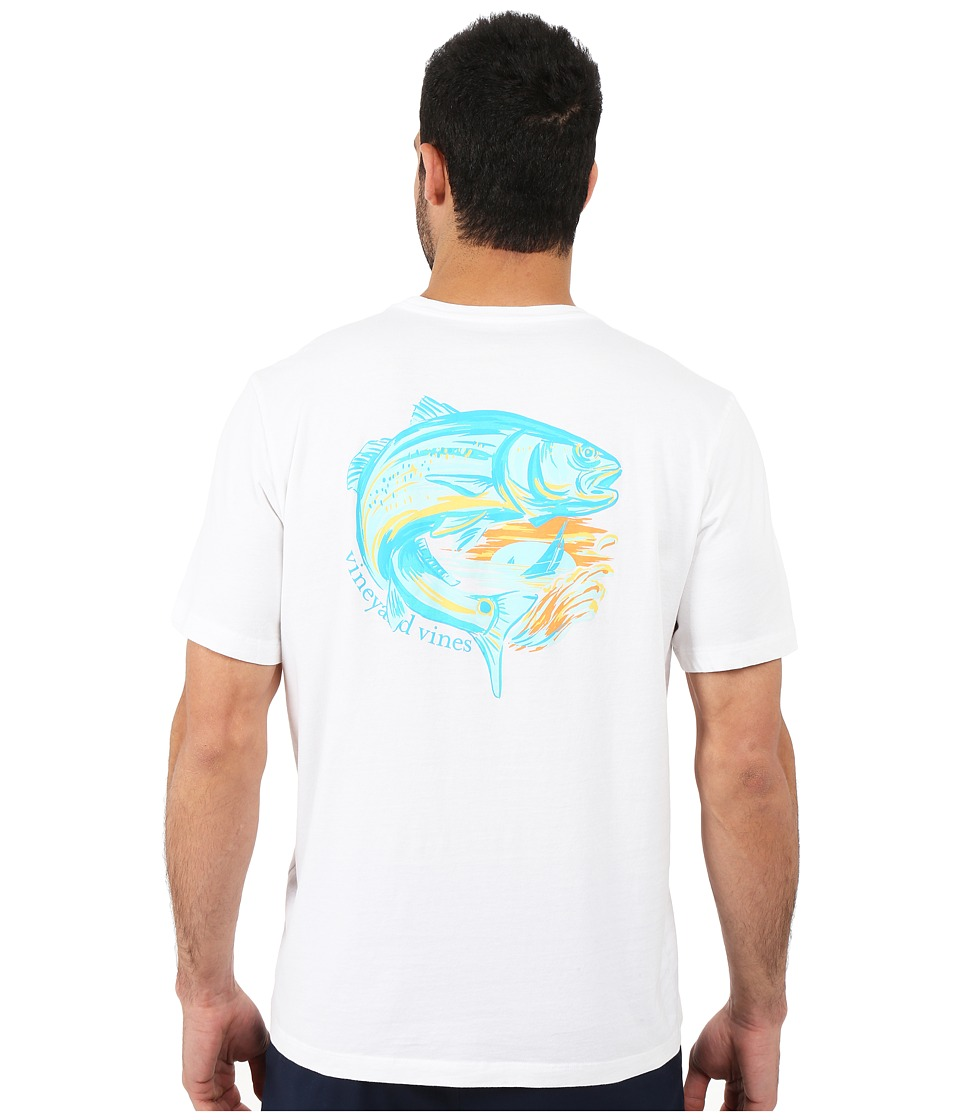 Vineyard Vines - Short Sleeve Redfish Island Pocket Tee (White Cap) Men's T Shirt