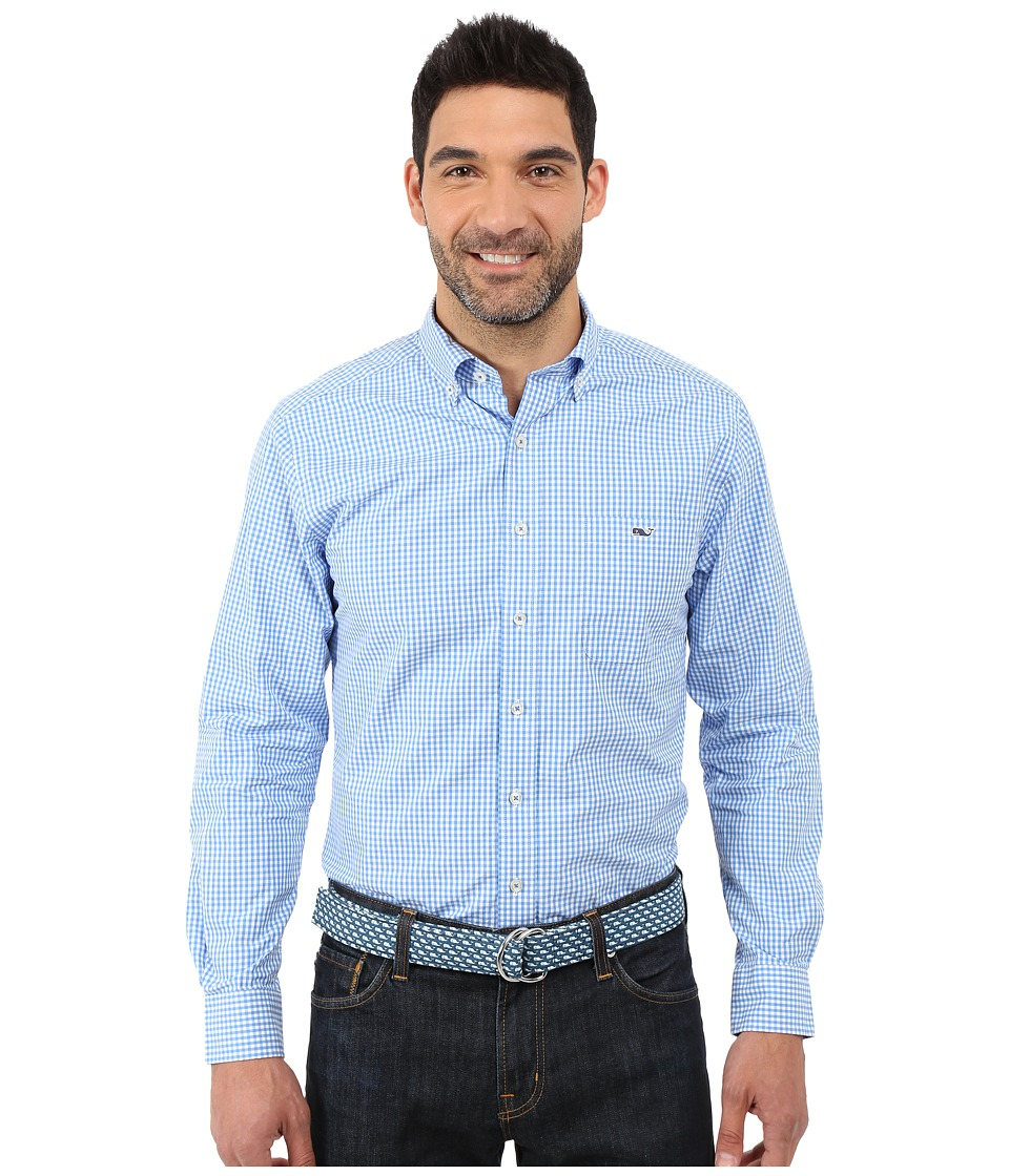 Vineyard Vines - Topsail Gingham Slim Tucker Shirt (Cornflower) Men's Clothing