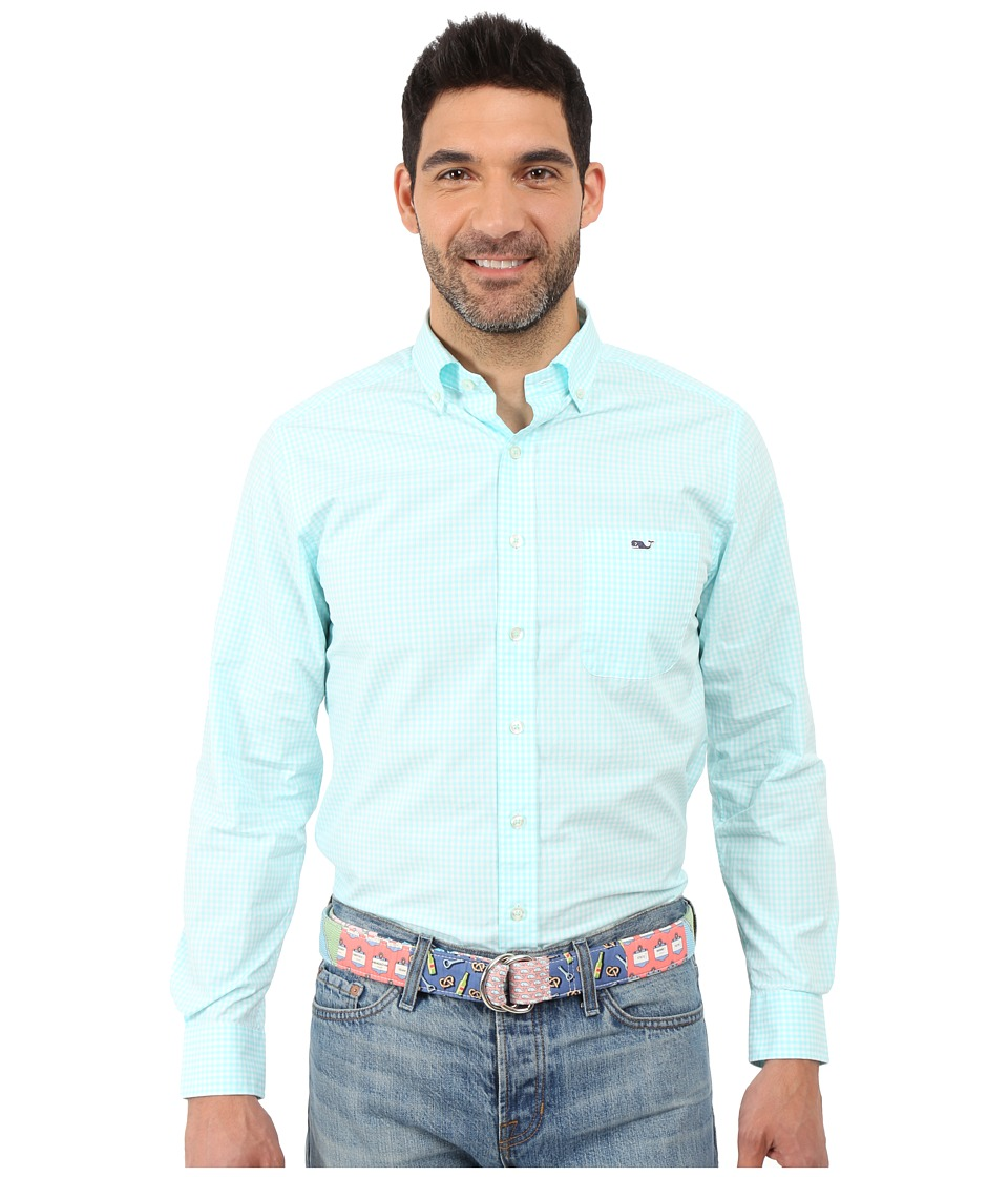 Vineyard Vines - Topsail Gingham Slim Tucker Shirt (Pool Side) Men's Clothing