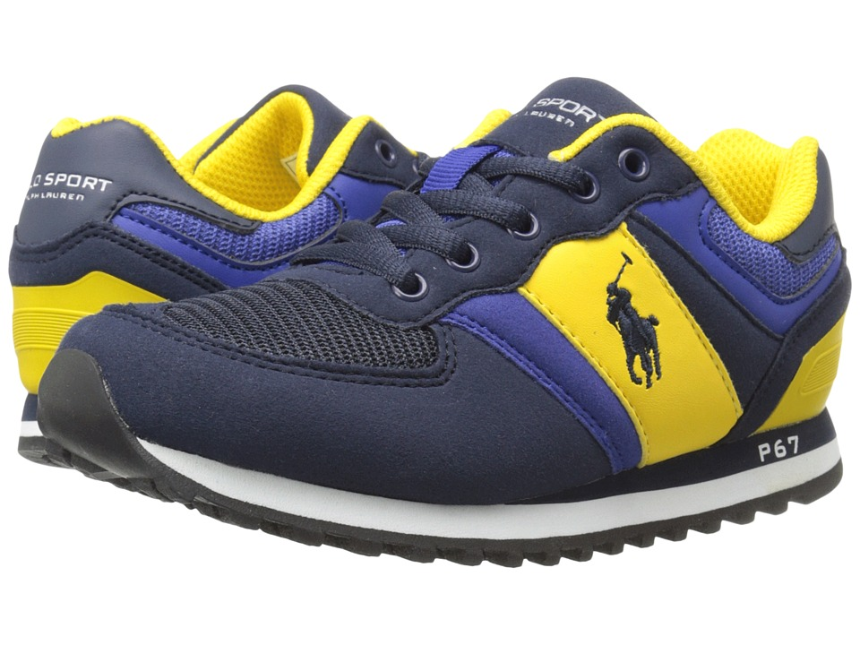 Polo Ralph Lauren Kids - Slaton (Little Kid) (Navy/Royal Microfiber/Navy Pony) Boy's Shoes