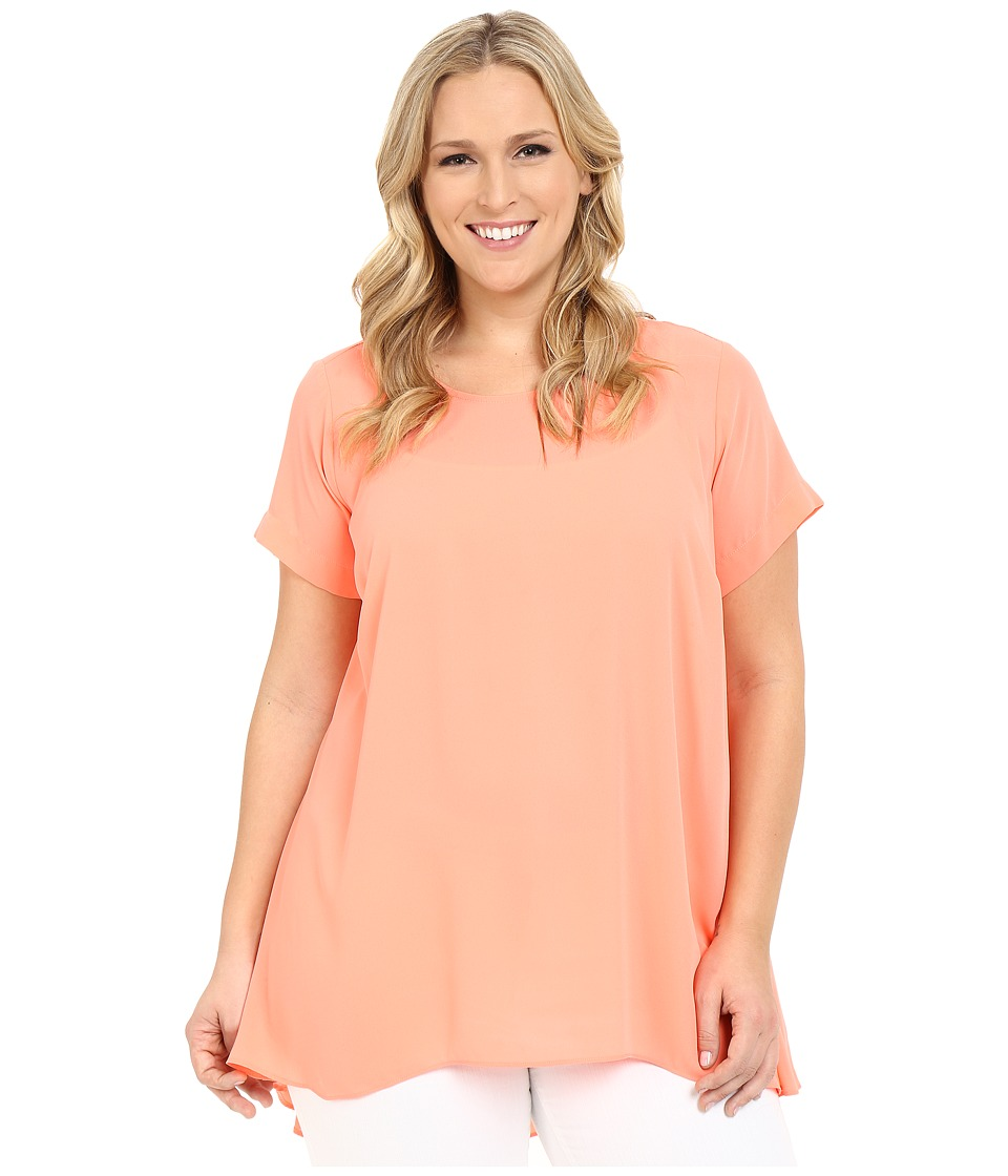 Vince Camuto Specialty Size - Plus Size Short Sleeve High-Low Hem Blouse (Coral Shock) Women's Blouse
