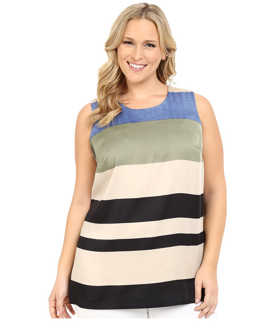 Vince Camuto Specialty Size - Plus Size Sleeveless Veranda Stripe Blouse (Sand Dune) Women's Sleeveless