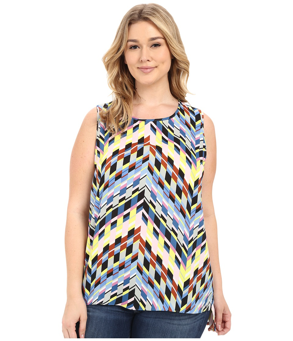 Vince Camuto Specialty Size - Plus Size Sleeveless Chevon Frenzy Shirttail Blouse (Echo Blue) Women's Blouse plus size,  plus size fashion plus size appare