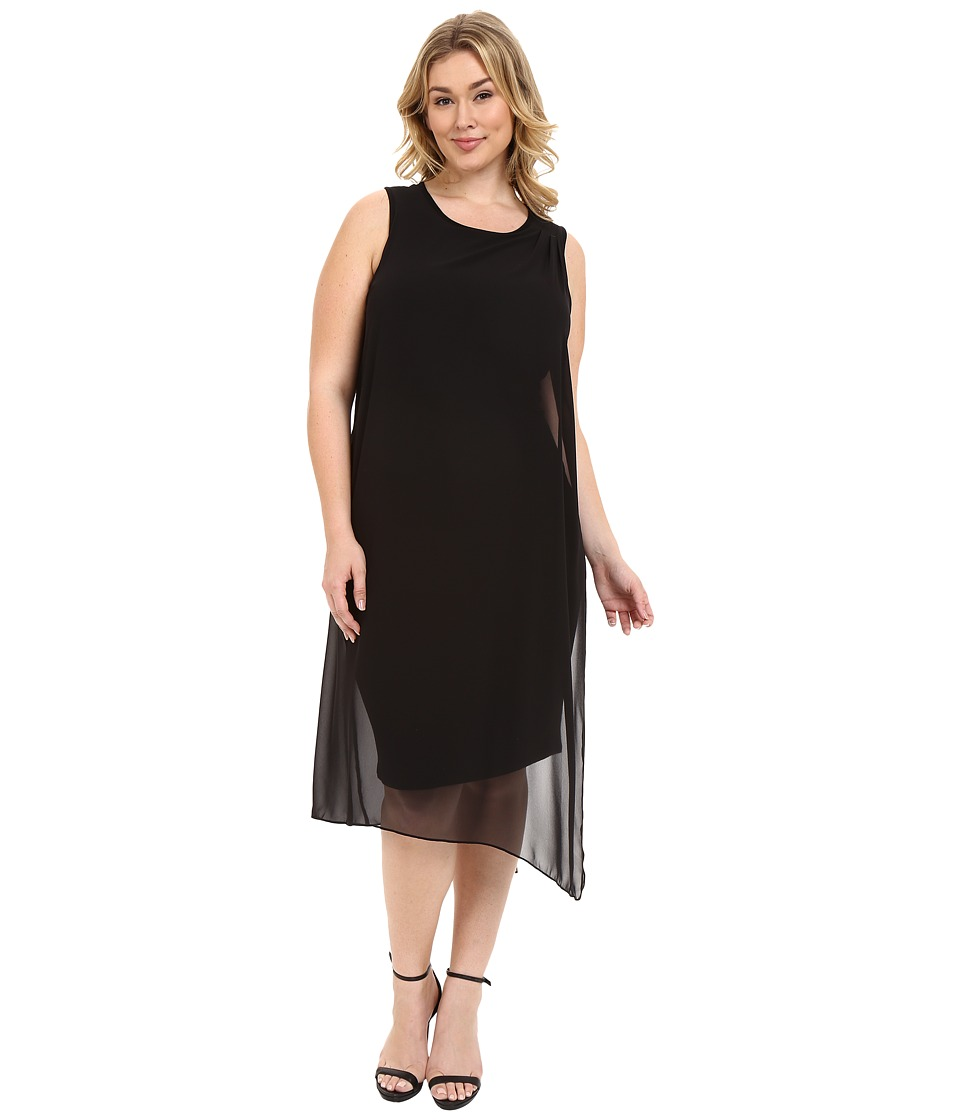 Vince Camuto Specialty Size - Plus Size Sleeveless Dress with Asymmetrical Chiffon Overlay (Rich Black) Women's Dress