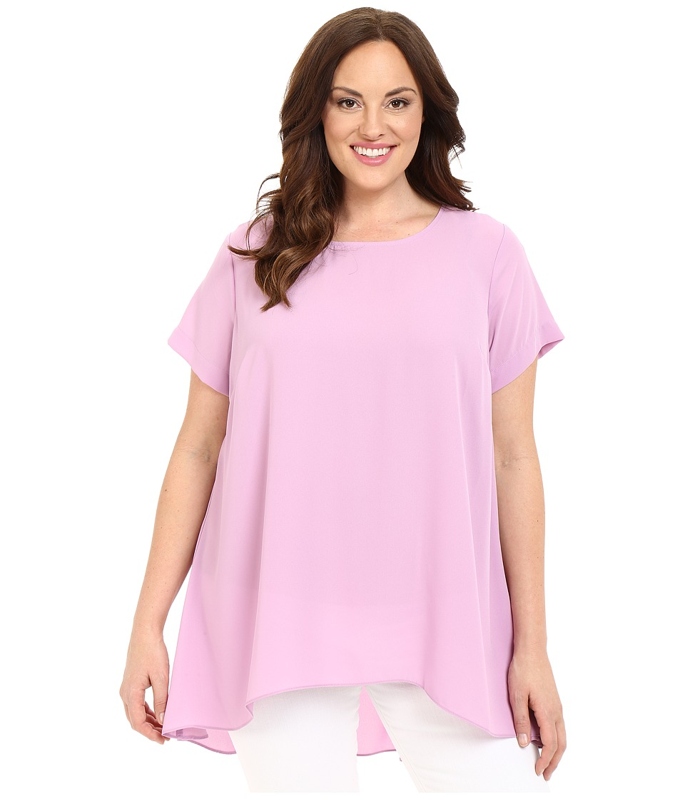 Vince Camuto Specialty Size - Plus Size Short Sleeve High-Low Hem Blouse (Orchid Crush) Women's Blouse