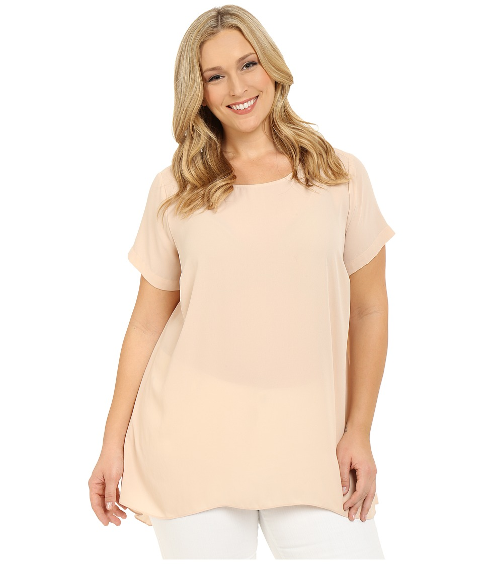 Vince Camuto Specialty Size - Plus Size Short Sleeve High-Low Hem Blouse (Moonbeam) Women's Blouse