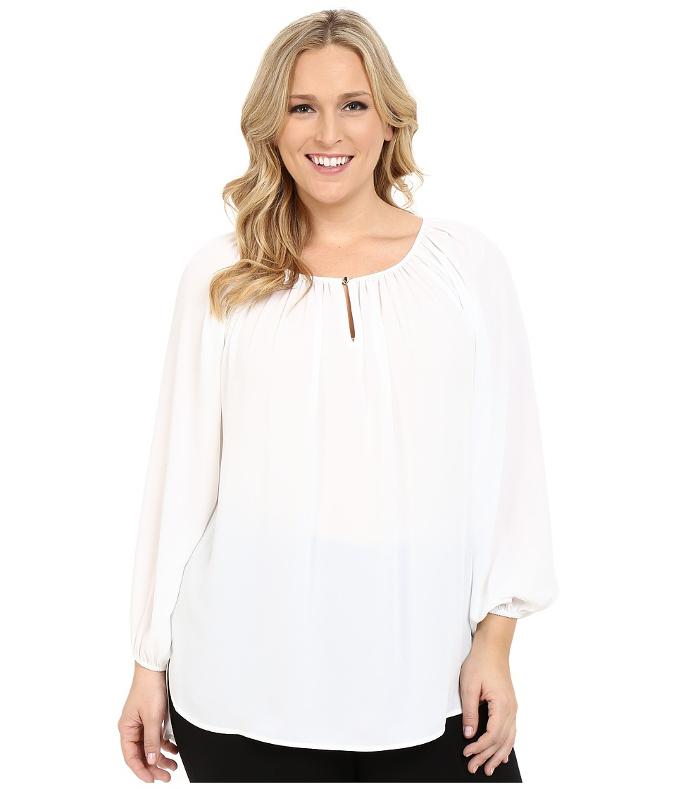 Vince Camuto Specialty Size - Plus Size Long Sleeve Shirred Neck Peasant Blouse (New Ivory) Women's Blouse