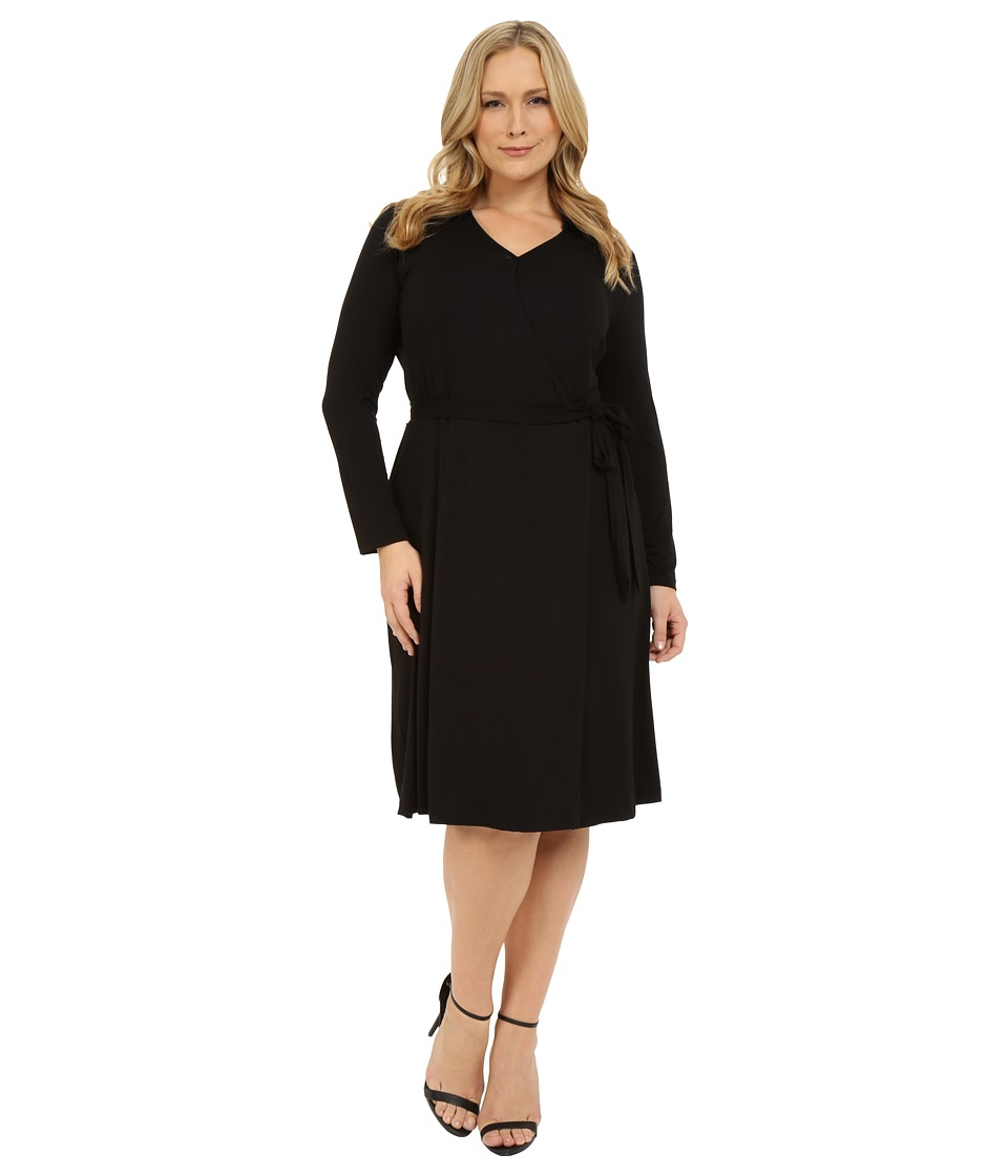 Vince Camuto Plus - Plus Size 3/4 Sleeve Faux Wrap Dress (Rich Black) Women's Dress