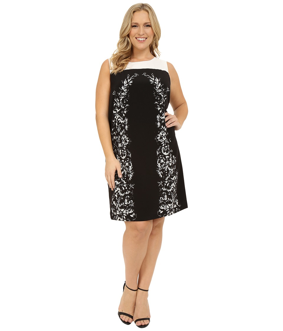 Vince Camuto Specialty Size - Plus Size Sleeveless Delicate Trellis Panel Shift Dress (Rich Black) Women's Dress