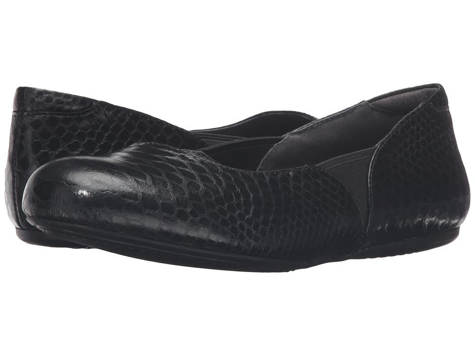 SoftWalk - Norwich (Black Metal Glazed Snake) Women's Dress Flat Shoes