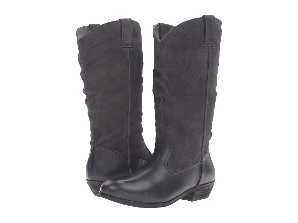 SoftWalk - Rock Creek Wide Calf (Dark Grey Smooth Leather/Cow Suede) Women's Boots