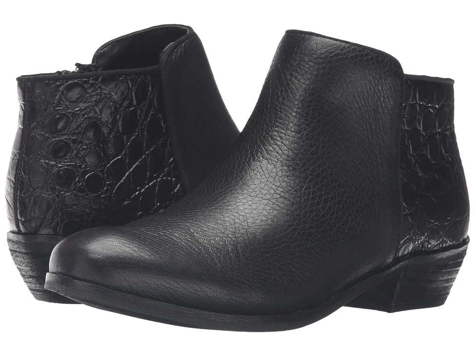 SoftWalk Rocklin (Black Tumbled Leather/Croco Leather) Women