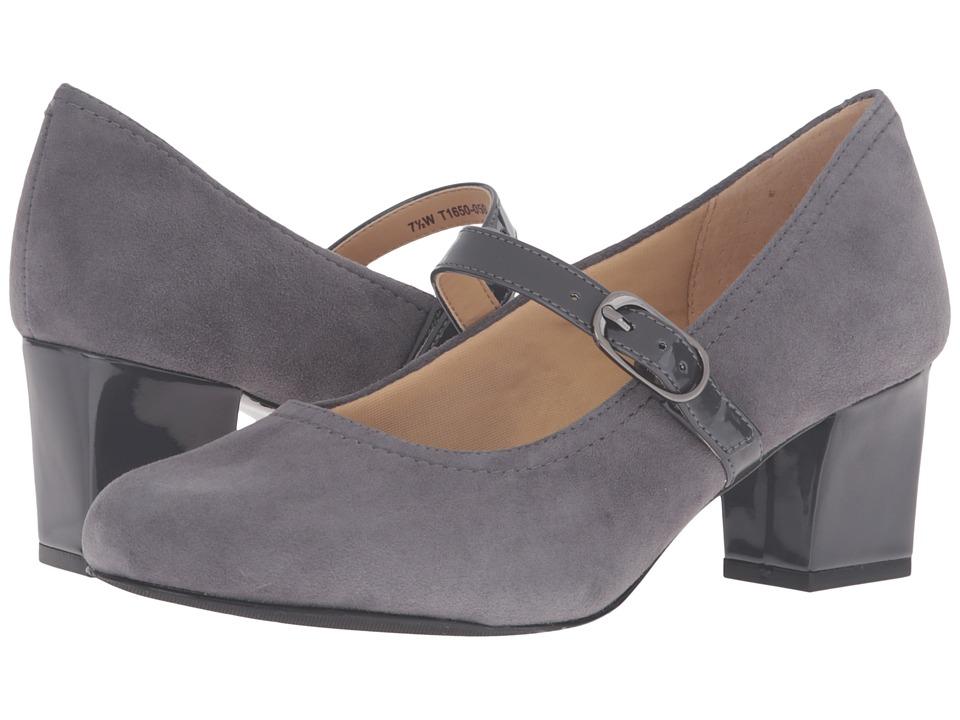 Trotters - Candice (Dark Grey Kid Suede Leather/Patenet) High Heels