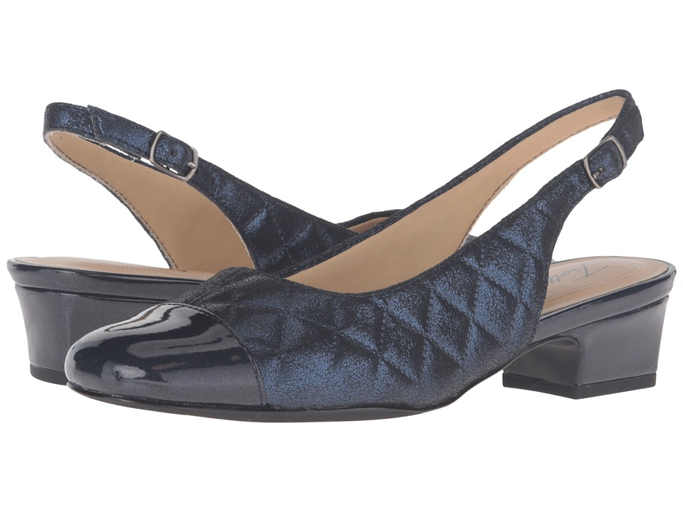 Trotters - Dea (Navy Quilted/Pearlized Patent) Women's 1-2 inch heel Shoes