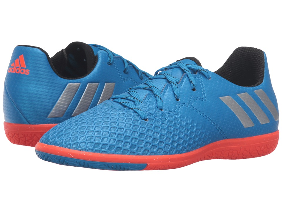 adidas Kids - Messi 16.3 IN Soccer (Little Kid/Big Kid) (Shock Blue/Matte Silver/Black) Kids Shoes