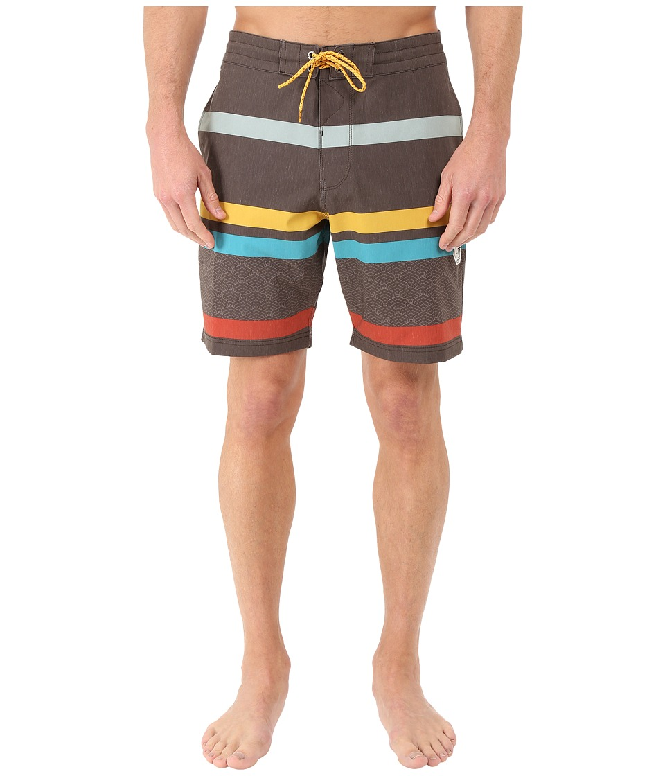 VISSLA - Mind Surf 4-Way Stretch Boardshorts 18.5 (Dark Brown) Men's Swimwear