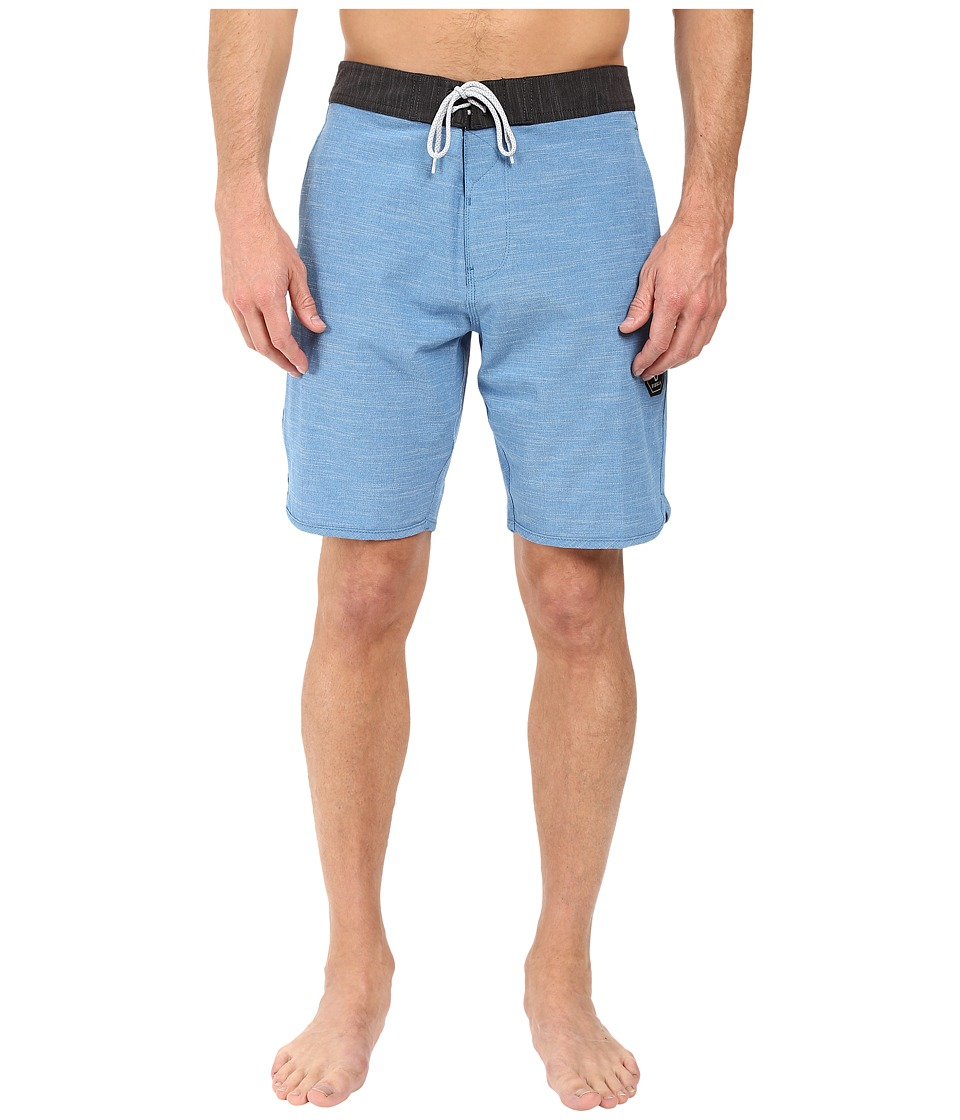 VISSLA - Fin Box 4-Way Stretch Heathered Boardshorts 20 (Blue) Men's Swimwear