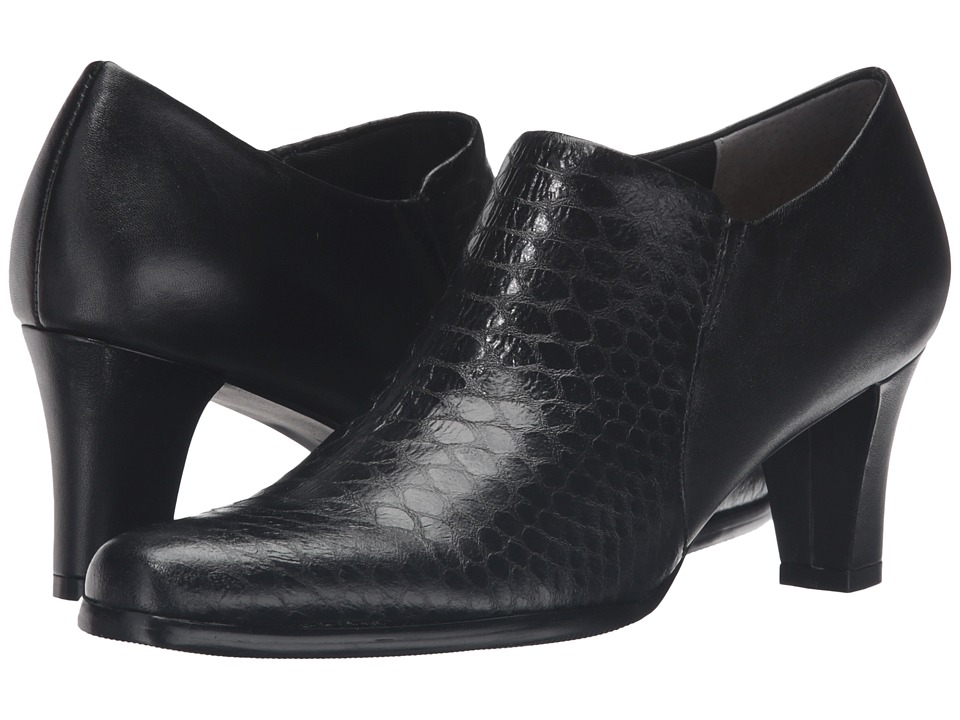 Trotters - Jolie (Black Metal Glazed Snake/Soft Nappa Leather) Women's Slip-on Dress Shoes