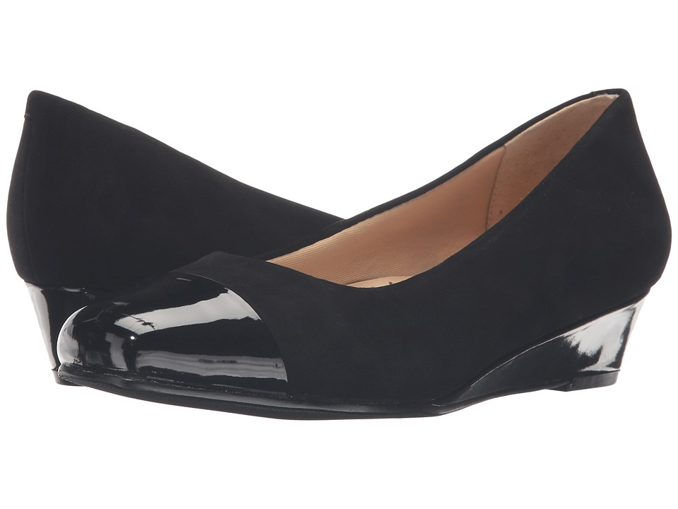 Trotters - Langley (Black Kid Suede Leather/Patent) Women's Wedge Shoes