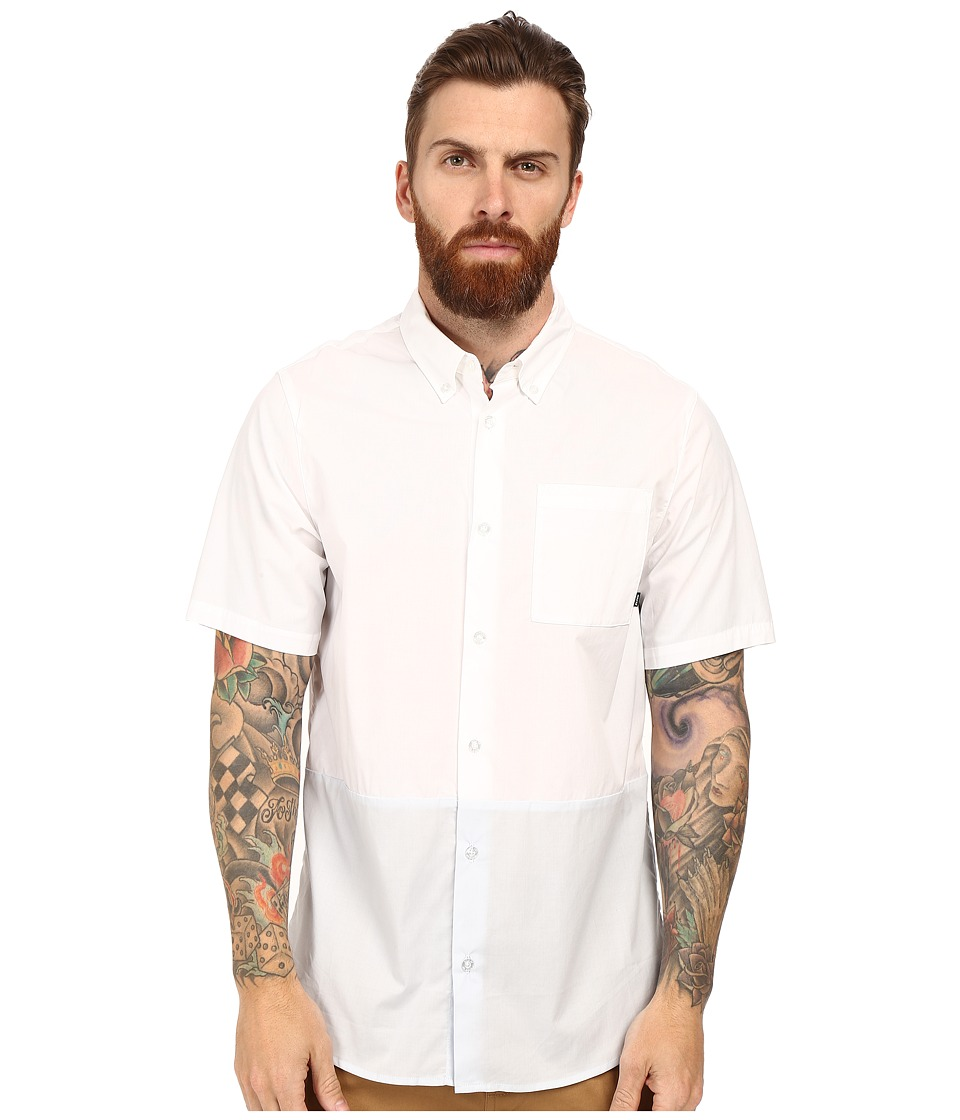 Nike SB - Holgate Blocked Woven Short Sleeve Shirt (White/Pure Platinum) Men's Short Sleeve Button Up