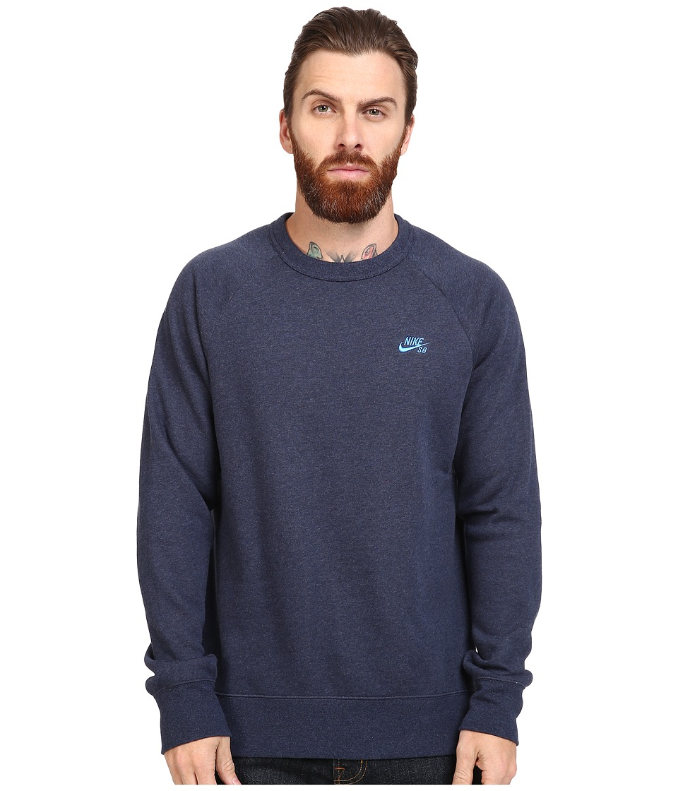 Nike SB - SB Icon Crew Fleece (Obsidian Heather/Light Photo Blue) Men's Fleece