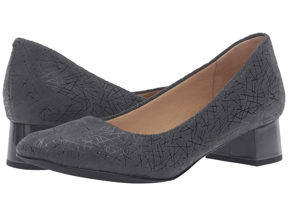 Trotters - Lola (Dark Grey Graphic Embossed Leather) Women's 1-2 inch heel Shoes