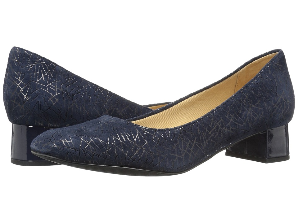 Trotters - Lola (Navy Graphic Embossed Leather) Women's 1-2 inch heel Shoes