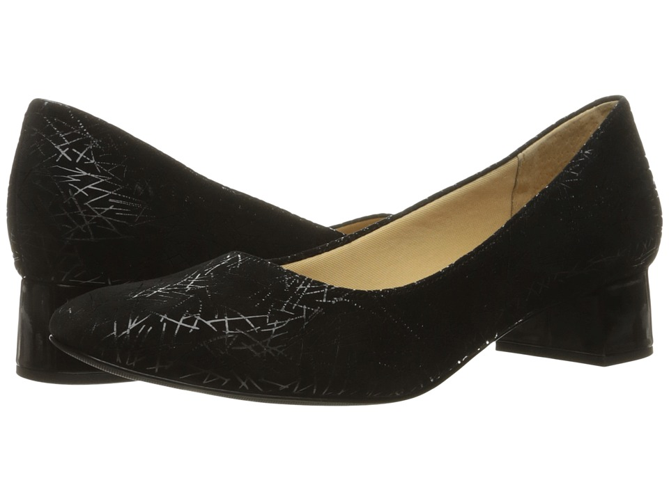 Trotters - Lola (Black Graphic Embossed Leather) Women's 1-2 inch heel Shoes