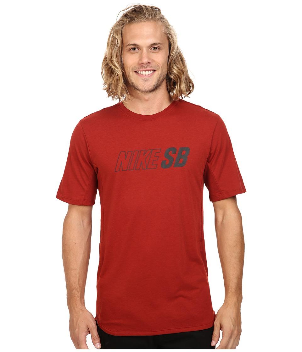Nike SB - SB Skyline Dri-FIT Cool GFX Short Sleeve Shirt (Dark Cayenne/Dark Cayenne/Black) Men's Short Sleeve Pullover