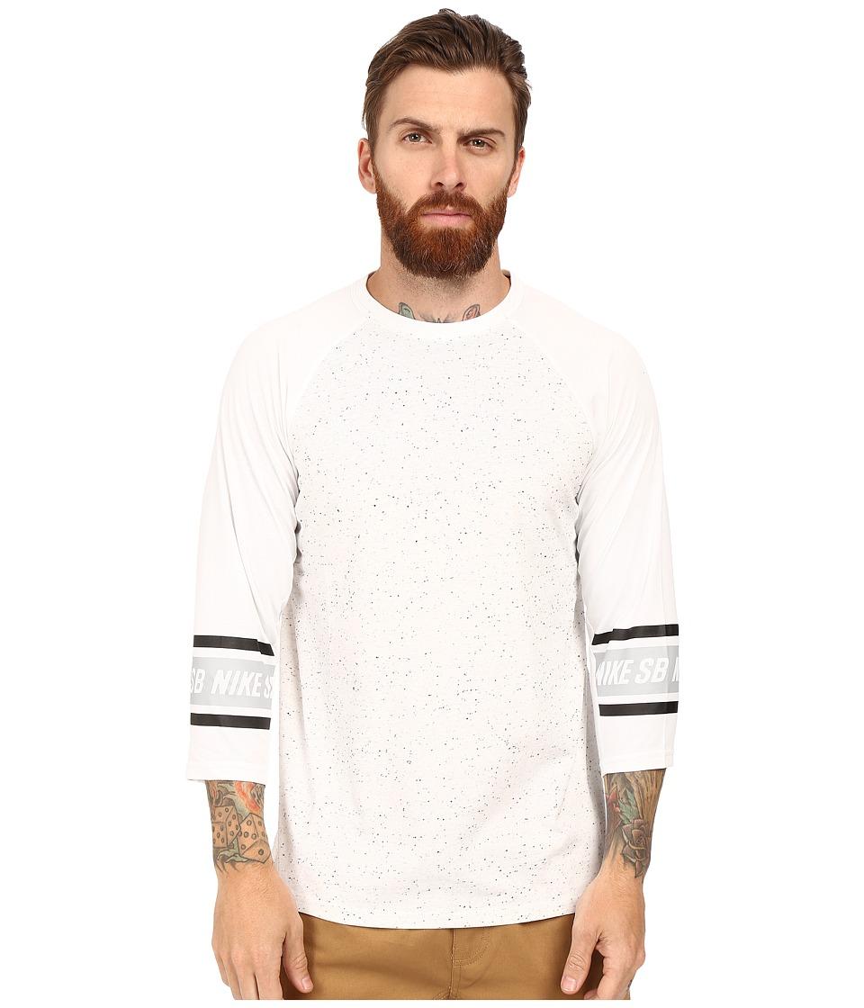 Nike SB - SB Dri-Fit 3/4 Sleeve Nepps Crew Shirt (White) Men's Long Sleeve Pullover