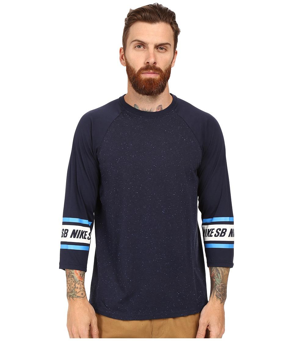 Nike SB - SB Dri-Fit 3/4 Sleeve Nepps Crew Shirt (Obsidian) Men's Long Sleeve Pullover