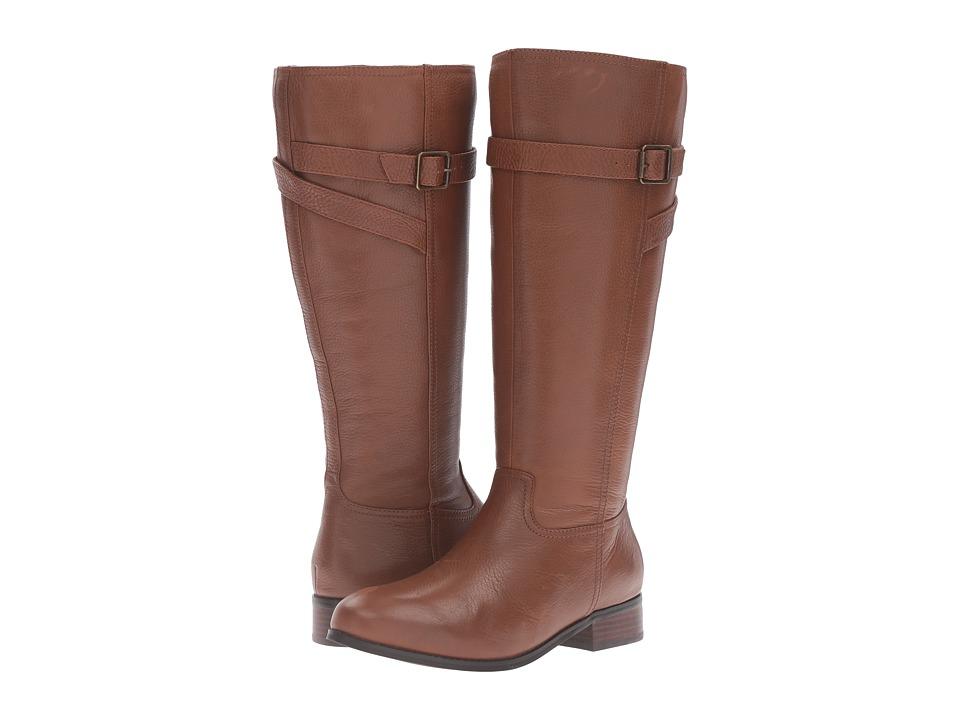 Trotters Lyra Wide Calf (Cognac Veg Tumbled Leather) Women