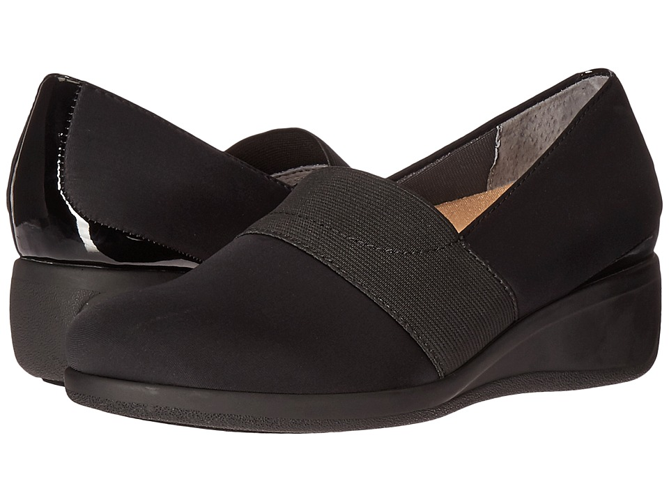 Trotters - Marley (Black Microfiber/Patent) Women's Slip on Shoes