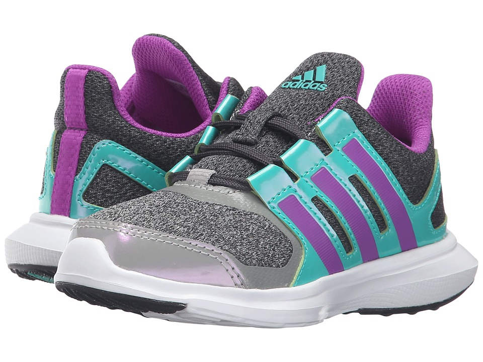 adidas Kids - Hyperfast 2.0 (Little Kid/Big Kid) (Dark Grey Heather/Shock Purple/Shock Mint) Girls Shoes