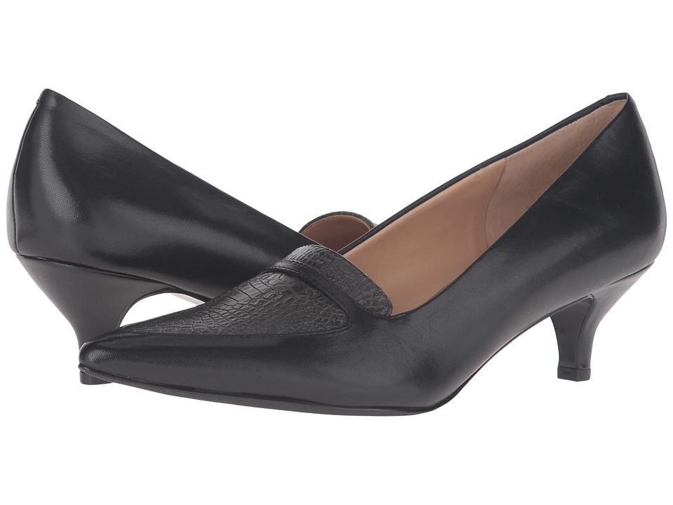 Trotters - Piper (Black/Grey Glazed Kid Leather/Snake Embossed) Women's 1-2 inch heel Shoes