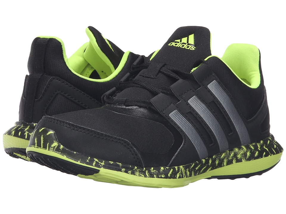 adidas Kids Hyperfast 2.0 (Little Kid/Big Kid) (Black/Iron Metallic/Solar Yellow) Boys Shoes