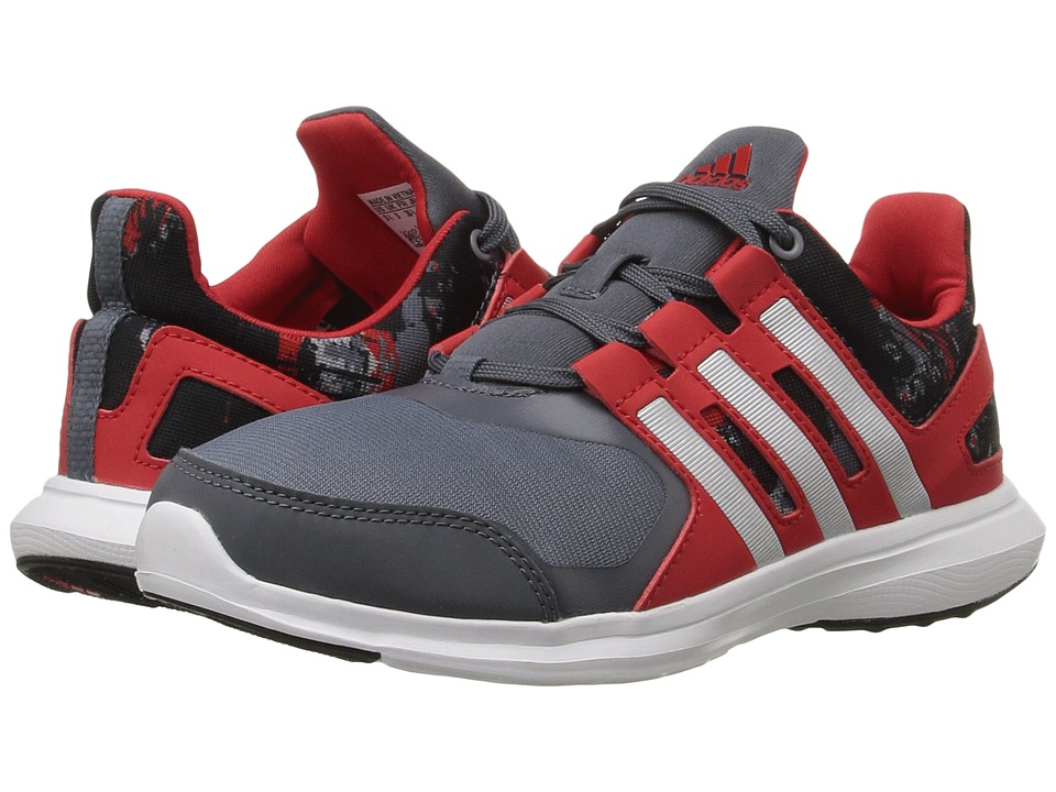 adidas Kids - Hyperfast 2.0 - Wide (Little Kid/Big Kid) (Onix/Matte Silver/Vivid Red) Boys Shoes