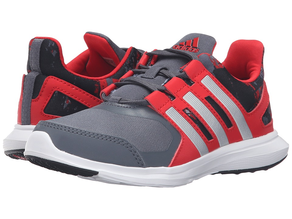 adidas Kids - Hyperfast 2.0 (Little Kid/Big Kid) (Onix/Matte Silver/Vivid Red) Boys Shoes