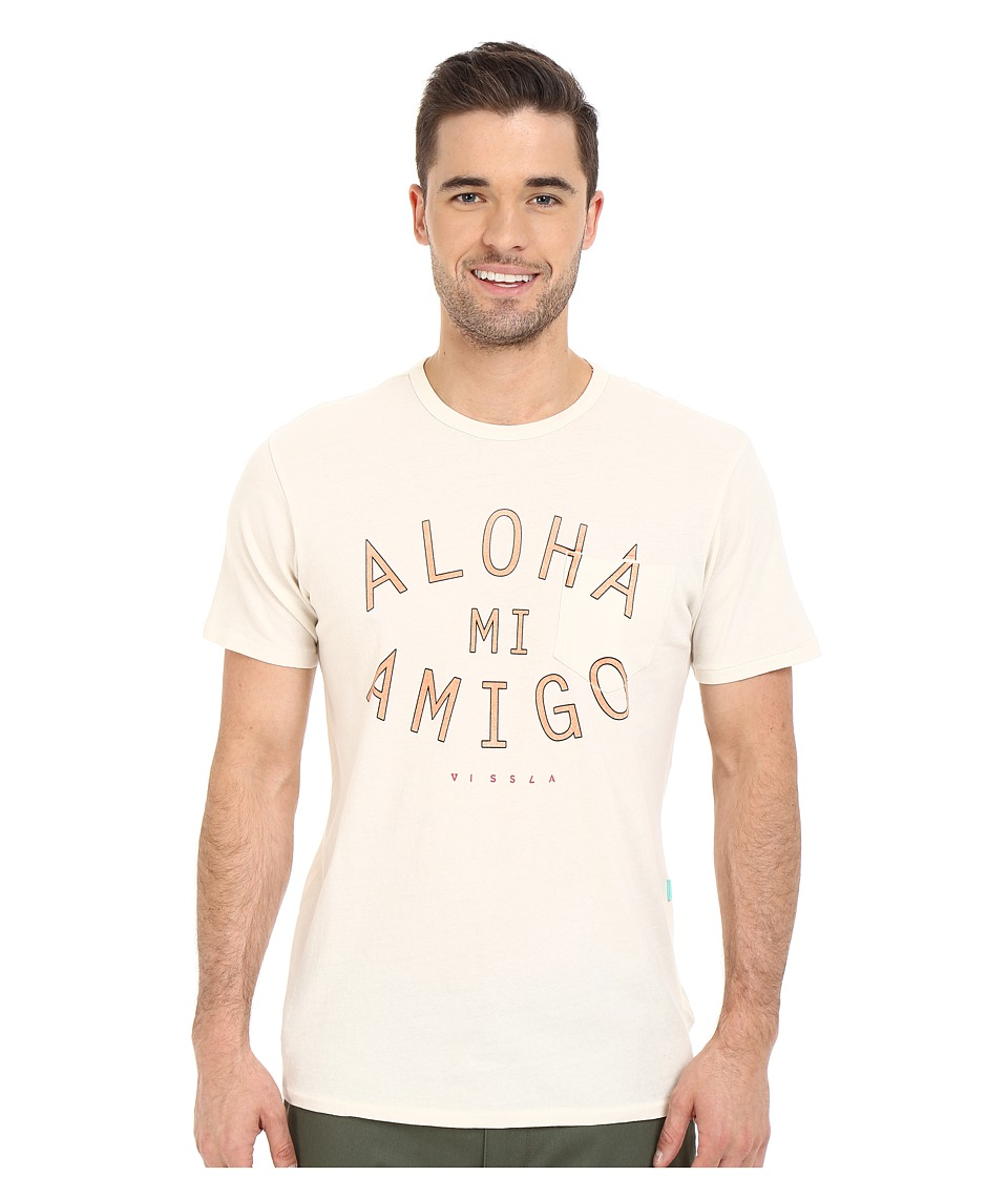 VISSLA - Arches-Aloha Vintage Wash Pocket Tee (Bone) Men's T Shirt