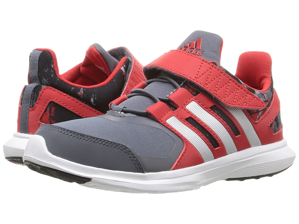 adidas Kids - Hyperfast 2.0 EL (Little Kid/Big Kid) (Onix/Matte Silver/Vivid Red) Boys Shoes