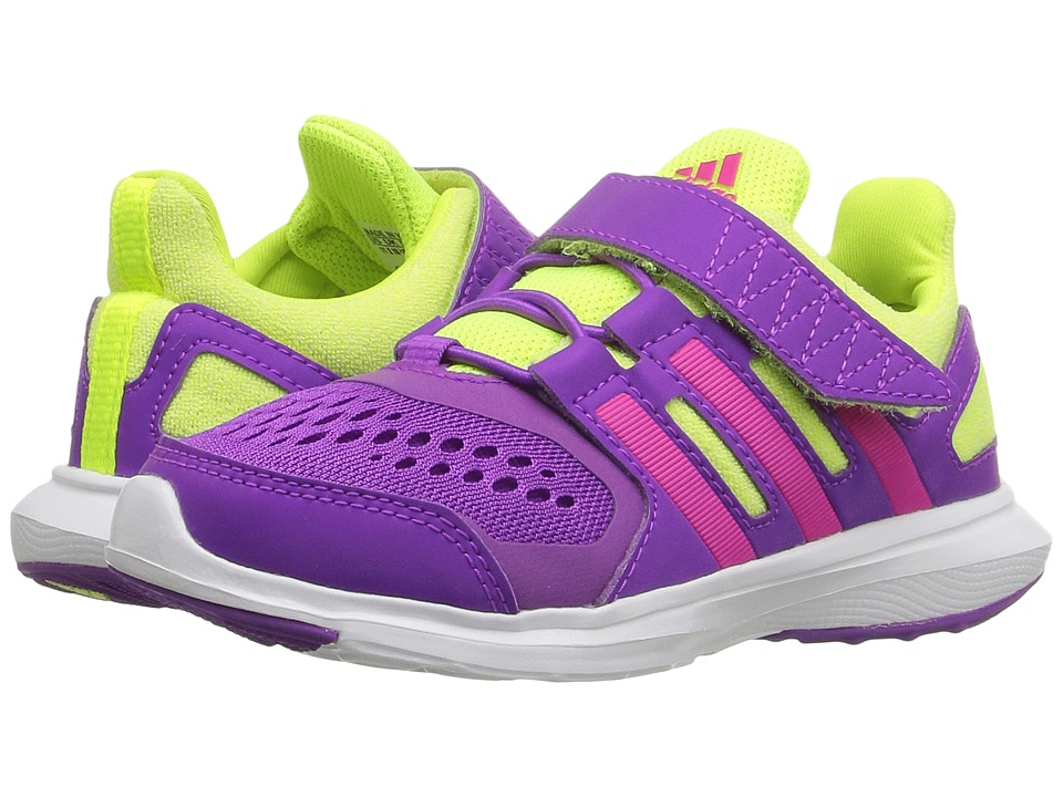 adidas Kids - Hyperfast 2.0 EL (Little Kid/Big Kid) (Shock Purple/Shock Pink/Solar Yellow) Girls Shoes
