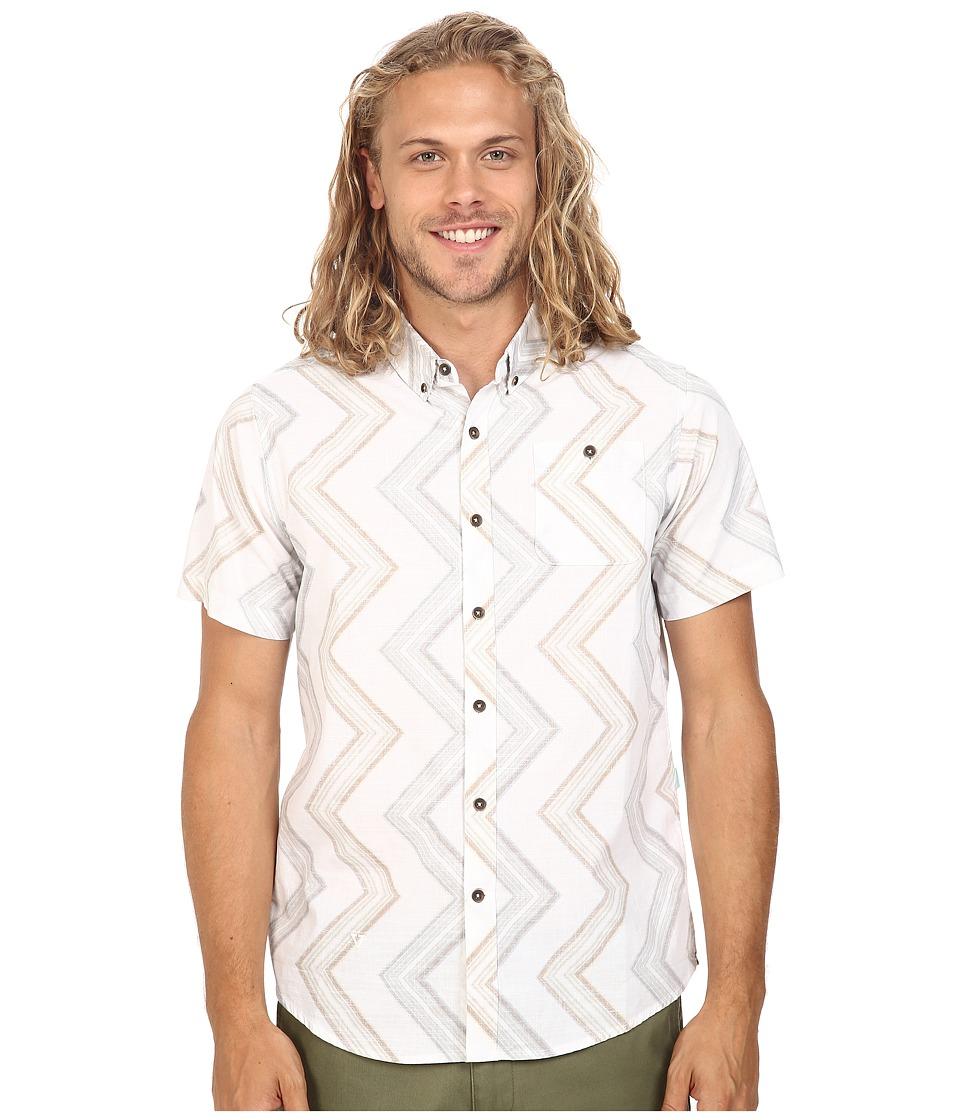 VISSLA - Raised By Waves Reverse Printed Short Sleeve Woven (White) Men's Short Sleeve Pullover