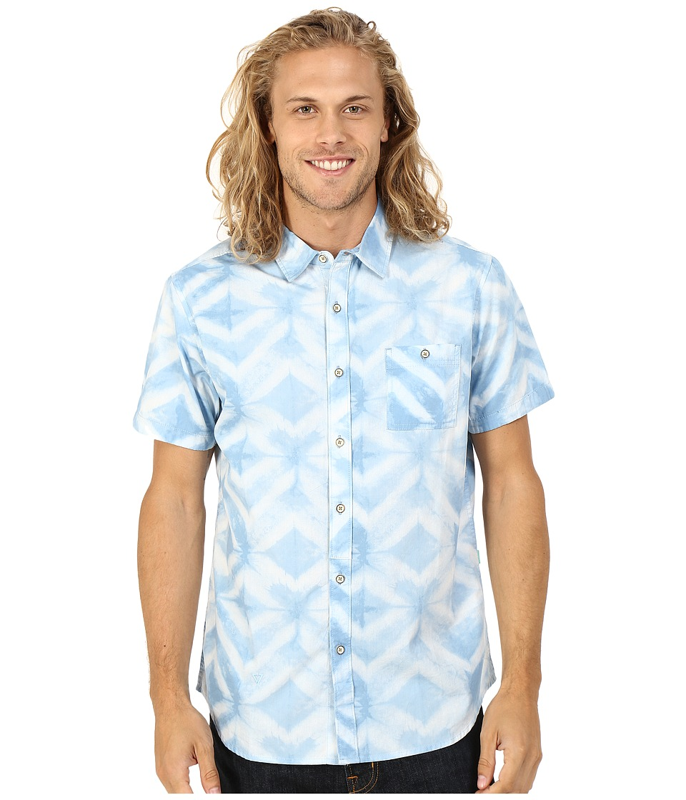 VISSLA - Dye-Mond Short Sleeve Printed Woven (Coastal Blue) Men's Short Sleeve Button Up