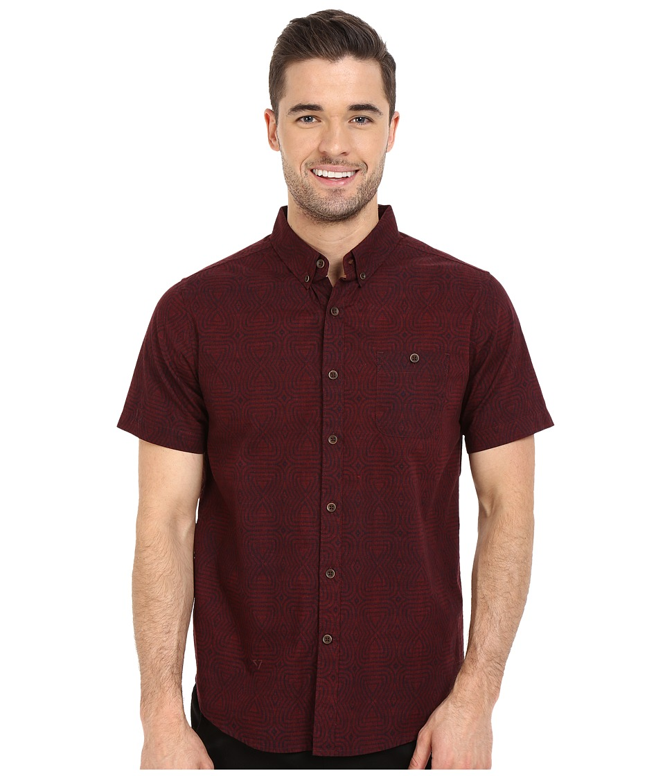 VISSLA - Snake Park Reverse Printed Short Sleeve Woven (Blood) Men's Short Sleeve Button Up