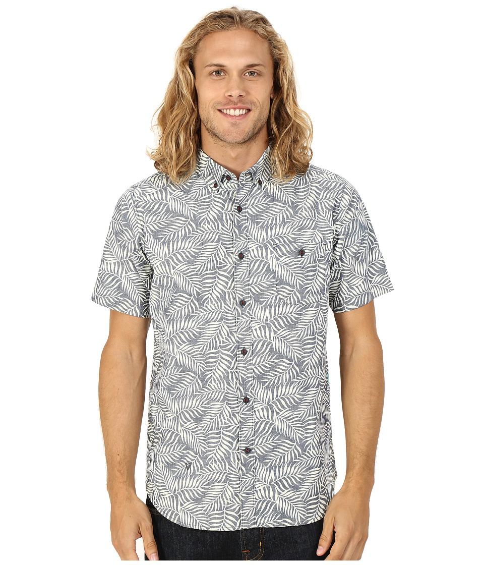 VISSLA - Flora Fauna Indigo Printed Short Sleeve Woven (Indigo) Men's Short Sleeve Button Up